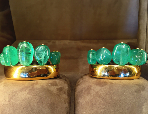 Belperron carved emerald and gold cuffs