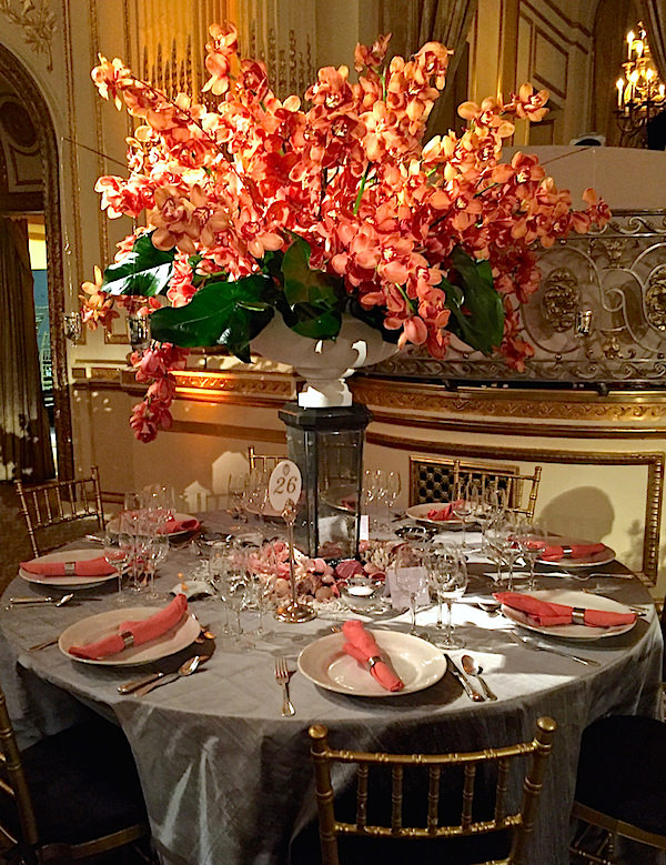 Brian Covington for Ferguson Shamamian 2016 Orchid Dinner table