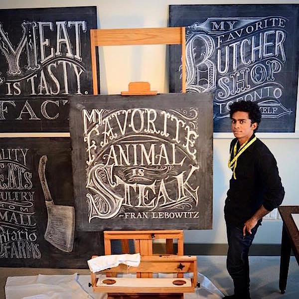 Raji chalkboards for Sangan's Meat Locker