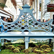 Vintage Millworks bench at the Antiques & Garden Show of Nashville