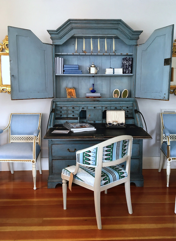 ACKtiques Scandanavian painted antique writing cabinet