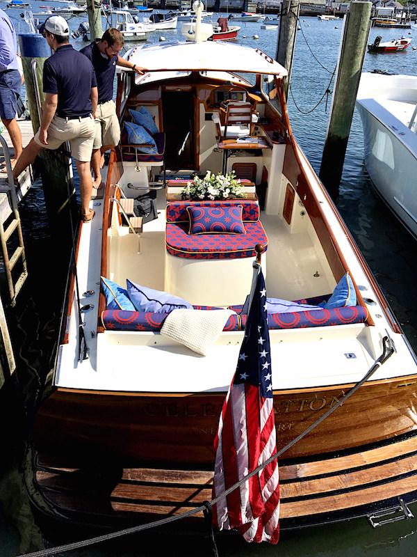 Audrey Sterk decorated Barton & Gray Hinckley picnic boat