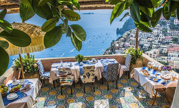 Excellence villas - breakfast on Villa Andres terrace overlooking Positano