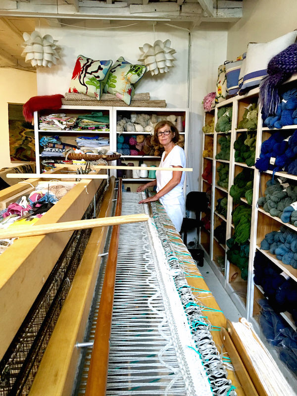 Anna Lynn Bender at her loom in the Weaving Room on Nantucket