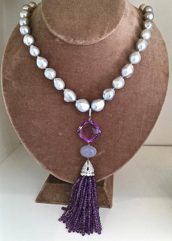 Nina Runsdorf Pearl Necklace w: Amethyst tassel-1