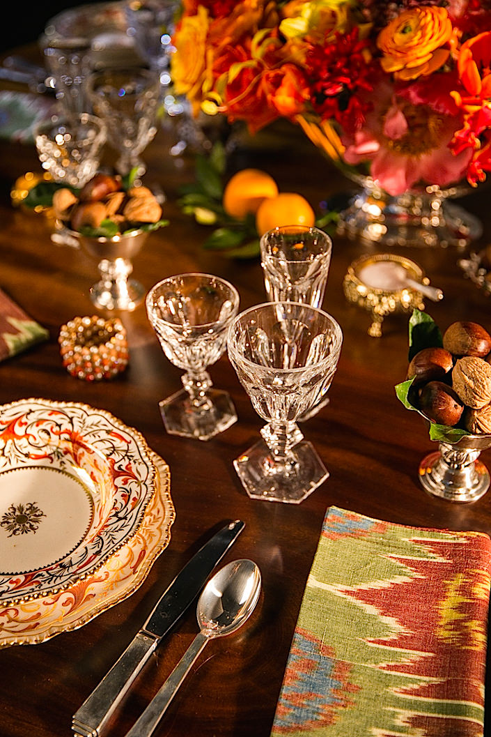 setting a holiday table at Christie's