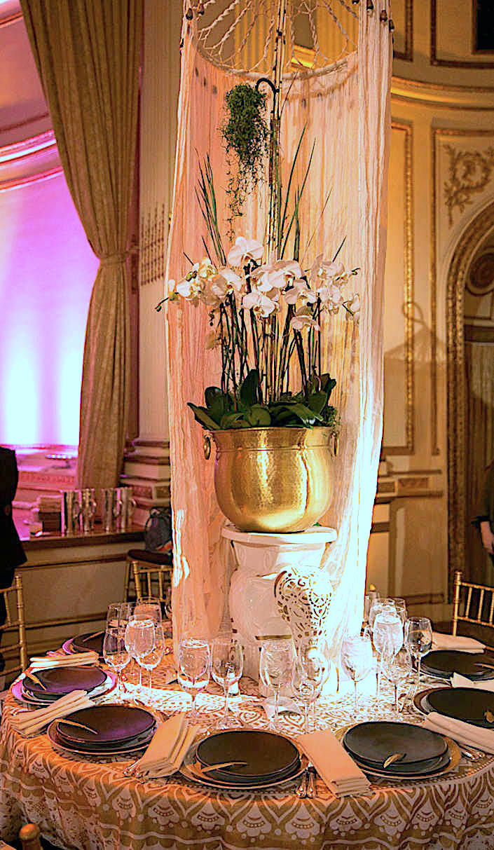Hilary Pereira NYBG 2017 Orchid Dinner table
