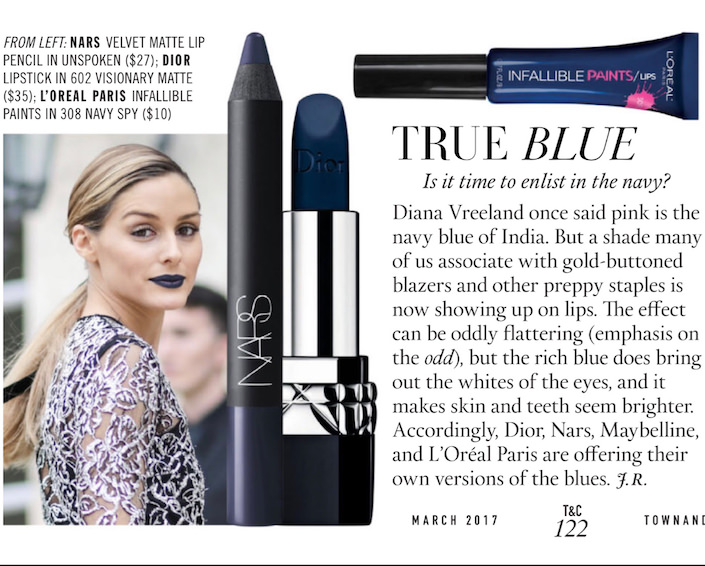 Nars blue lipstick in Town & Country