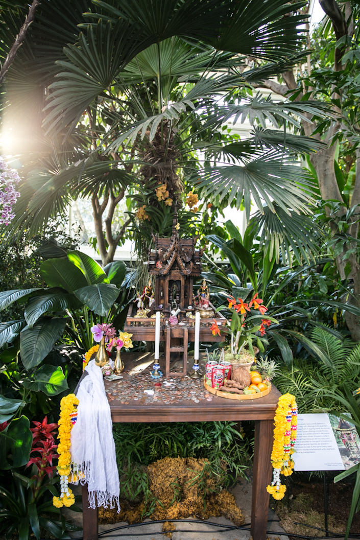 Thai spirit house at the NYBG 2017 Orchid Show