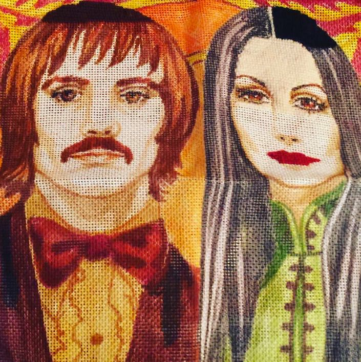 sonny and cher needlepoint pillow-1