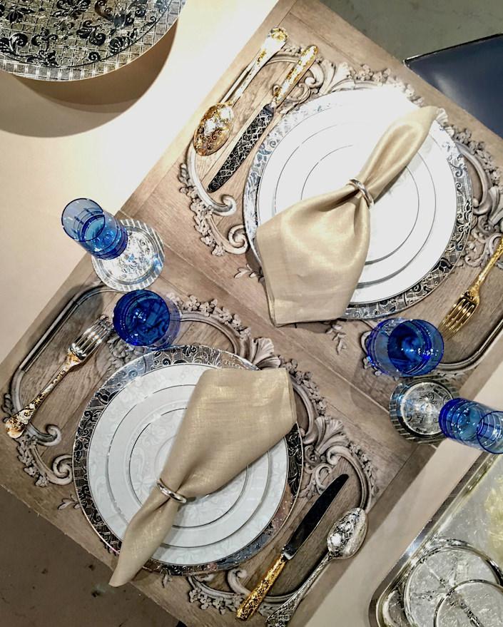 Christofle Spring 2017 tabletop with Jardin d'Eden and Graphik