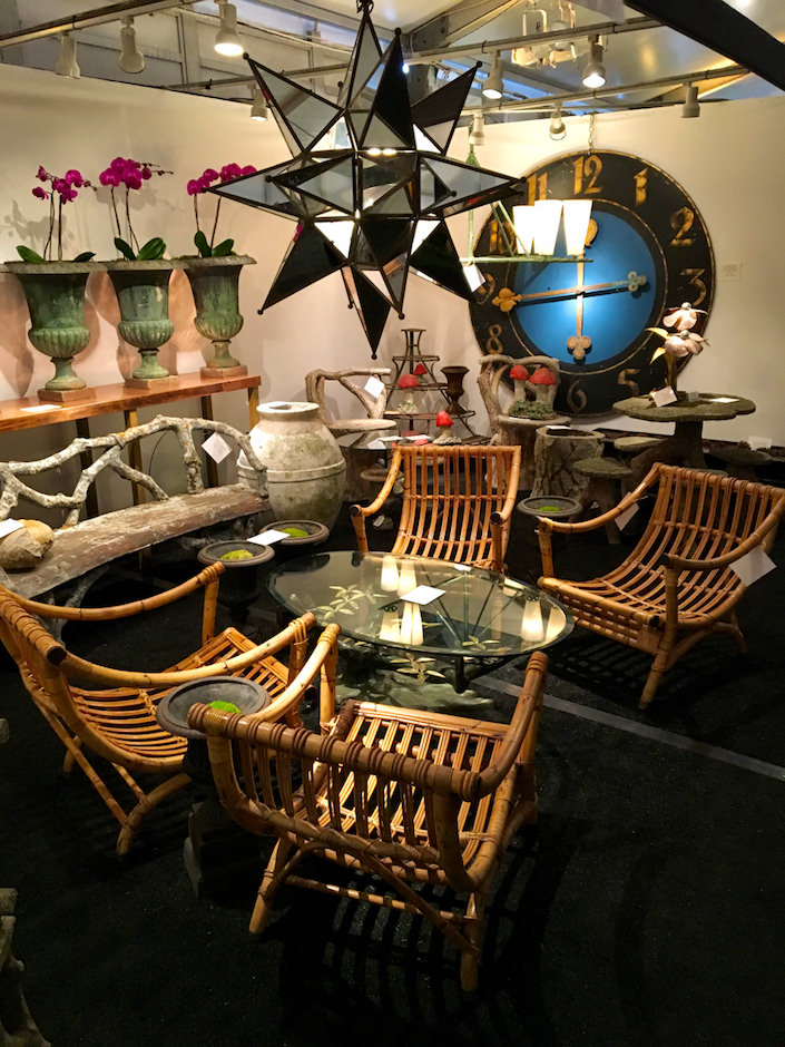 Fleur Italian 1960's bamboo lounge chairs at NYBG Antique Garden Furniture Fair
