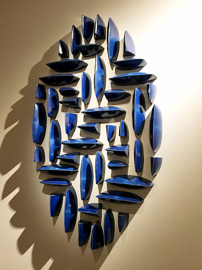 Maren Kloppmann Wall Pillows Blue Oval 1 at Hostler Burrows at TEFAF New York Spring