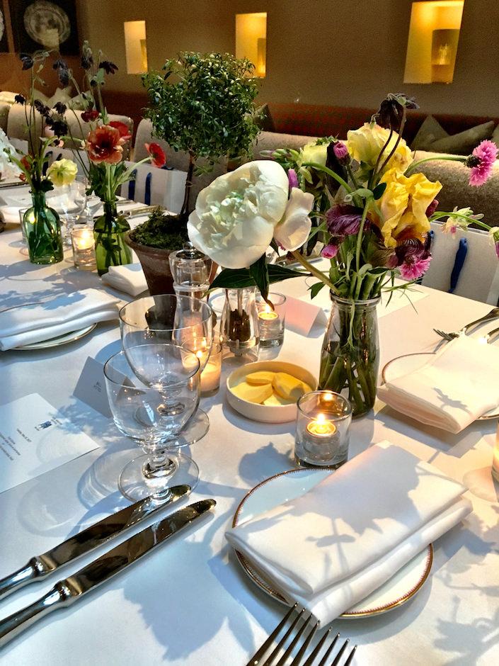 Michael Bargo flower arrangements at Whitby dinner