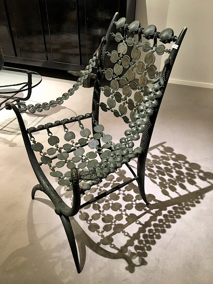 Rateau bronze armchair at Delorenzo Gallery at TEFAF New York
