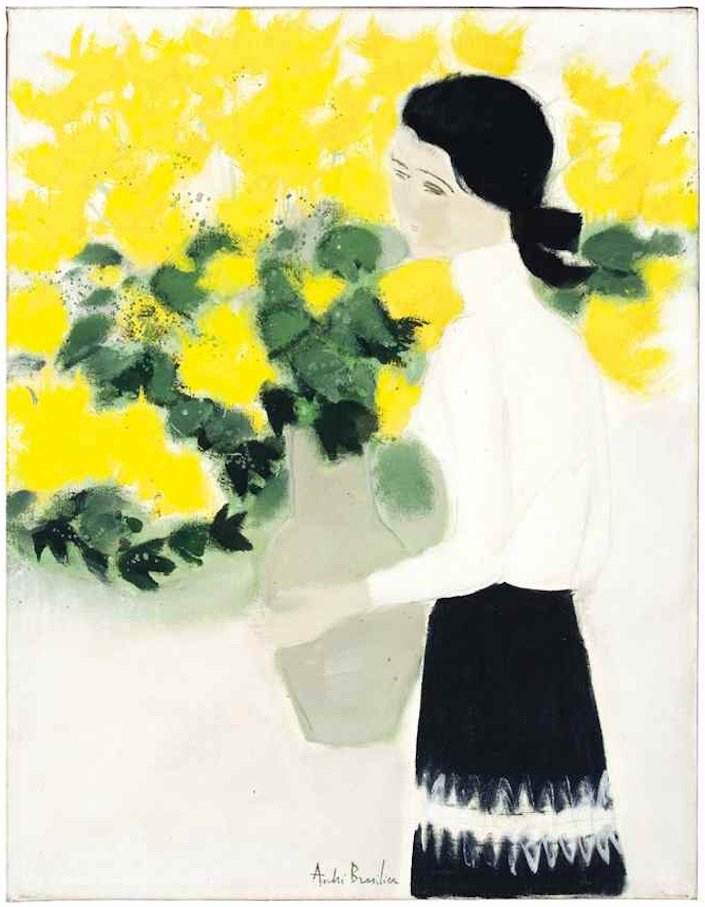 Chantal au bouquet Jaune, by Andre Brasilier at Christies