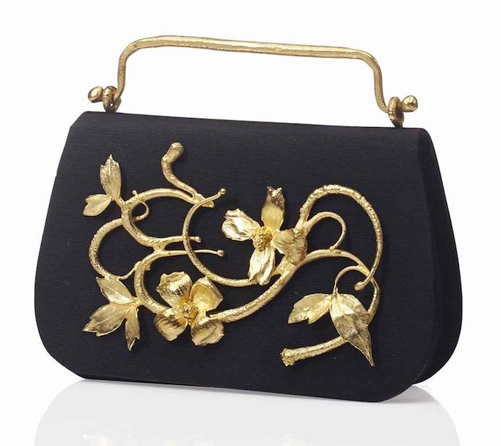 Claude Lalanne silk and gilt bronze evening bag-1