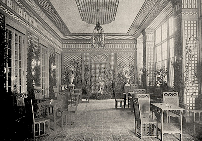 Elsie de Wolfe 1905 design for the Trellis room at the Colony Club