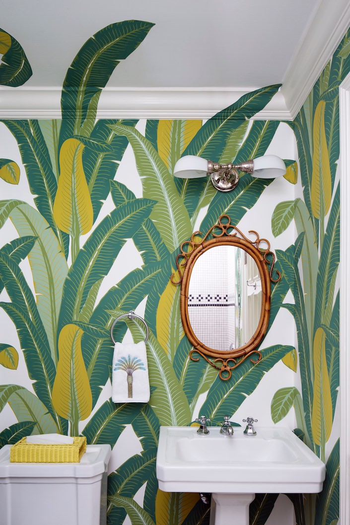 Kemble Interiors with Schumacher Tropical Isle wallpaper