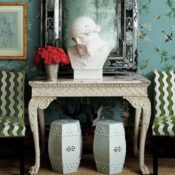 Miles Redd with Schumacher wallpaper, photo Melanie Acevedo