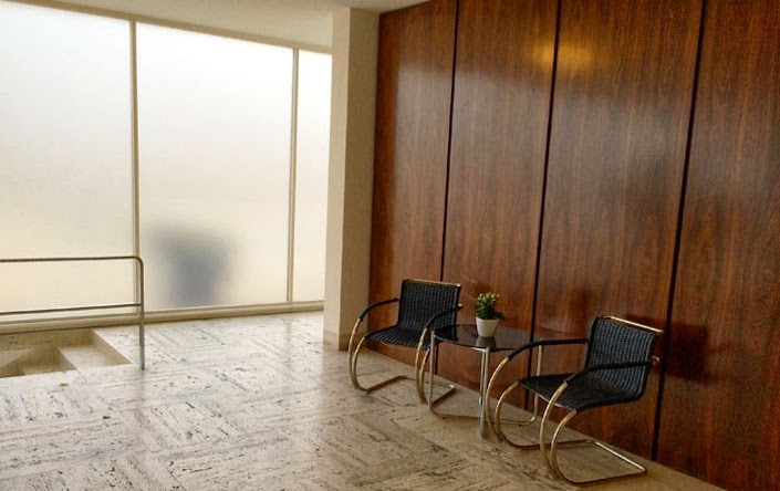 Villa Tugendhat with Mies D42 wicker chairs