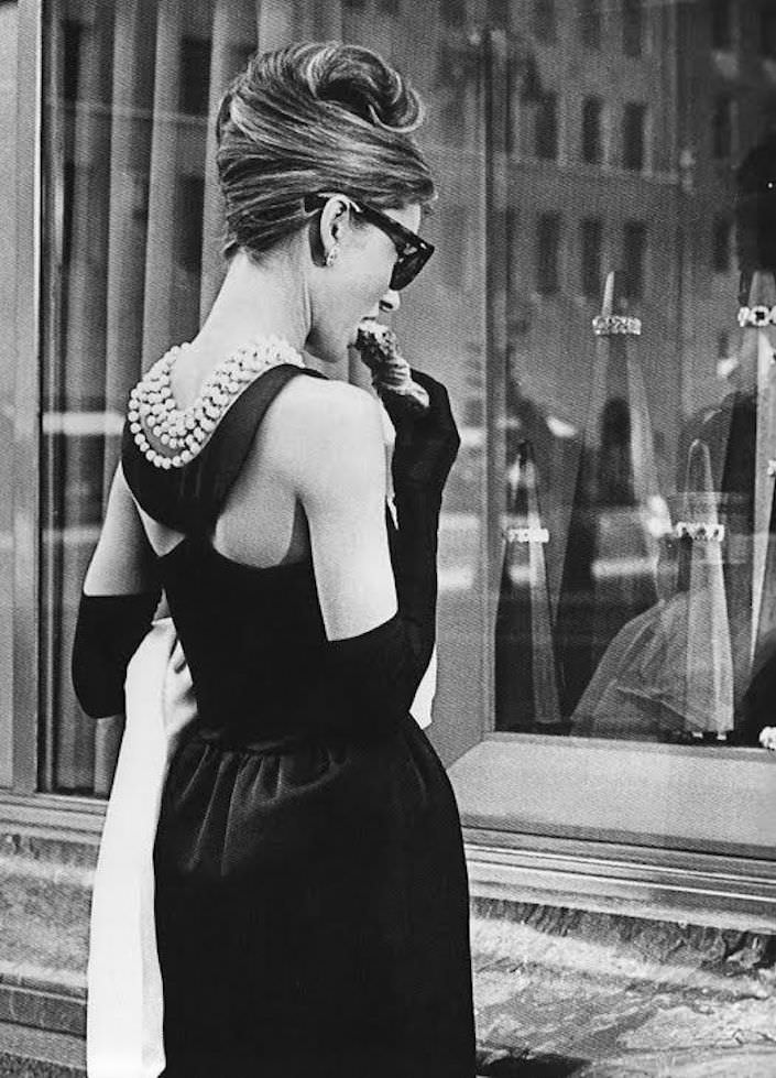 Audrey Hepburn in pearls