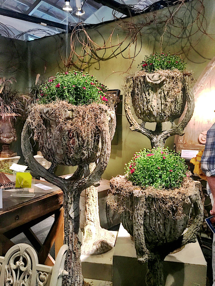 Finnegan Gallery faux bois planters at Nantucket Summer Antiques Show