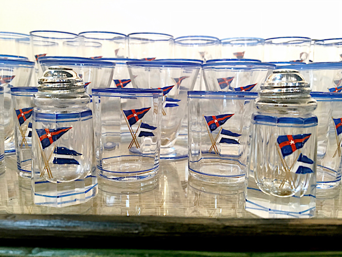 NY Yacht Club glasses set at James Butterworth booth at Nantucket Summer Antiques Show
