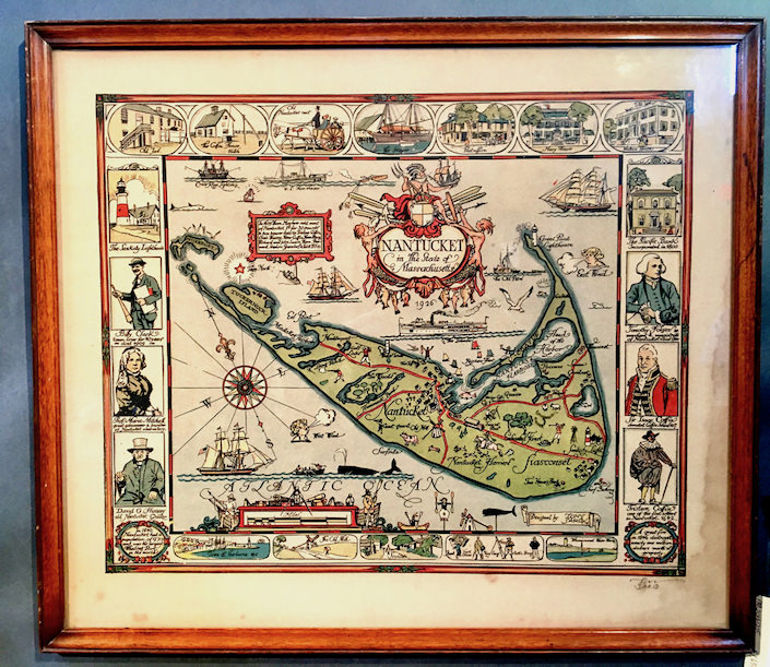 Nantucket map by Tony Sarg at Paul Madden antiques