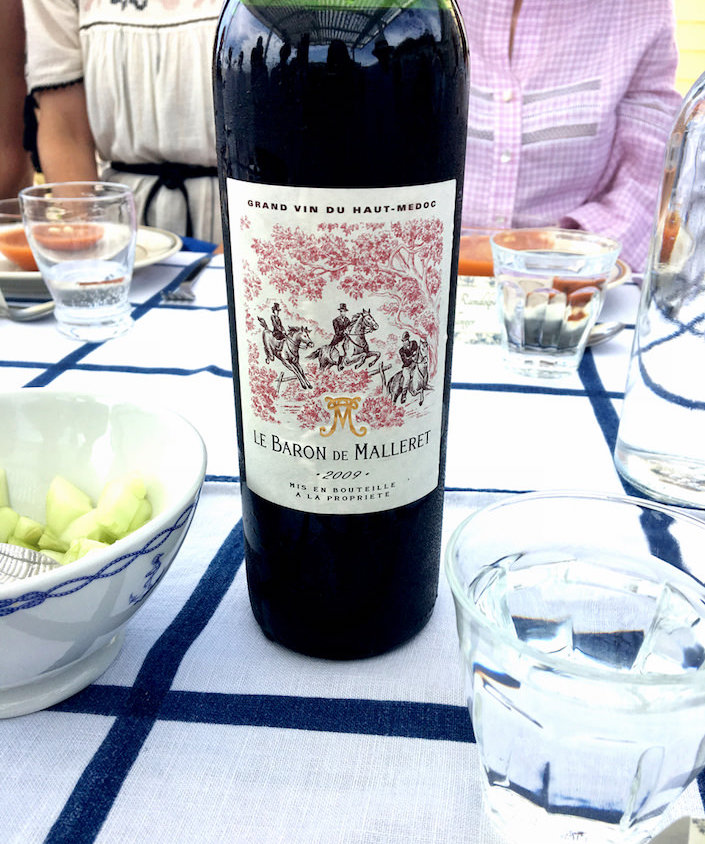 toile wine label at the Toile de Jouy International Foundation lunch