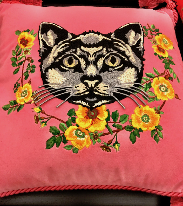 Gucci velvet cushion with embroidered cat