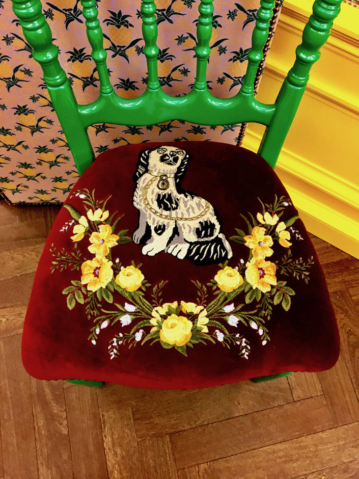 Gucci wood chair with embroidered spaniel
