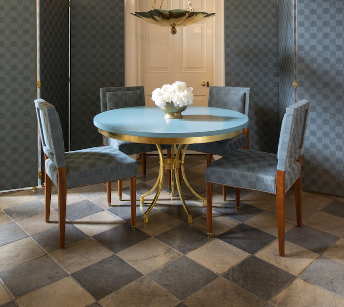 Soane Fall 2017 Old-Flax-Check-Lagoon-Pavilion-Chairs-Belvedere-Dining-Table_HR
