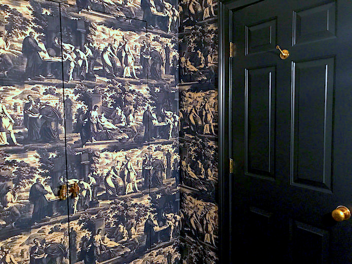 jib doors with Christopher Moore Cholet toile wallpaper via Quintessence