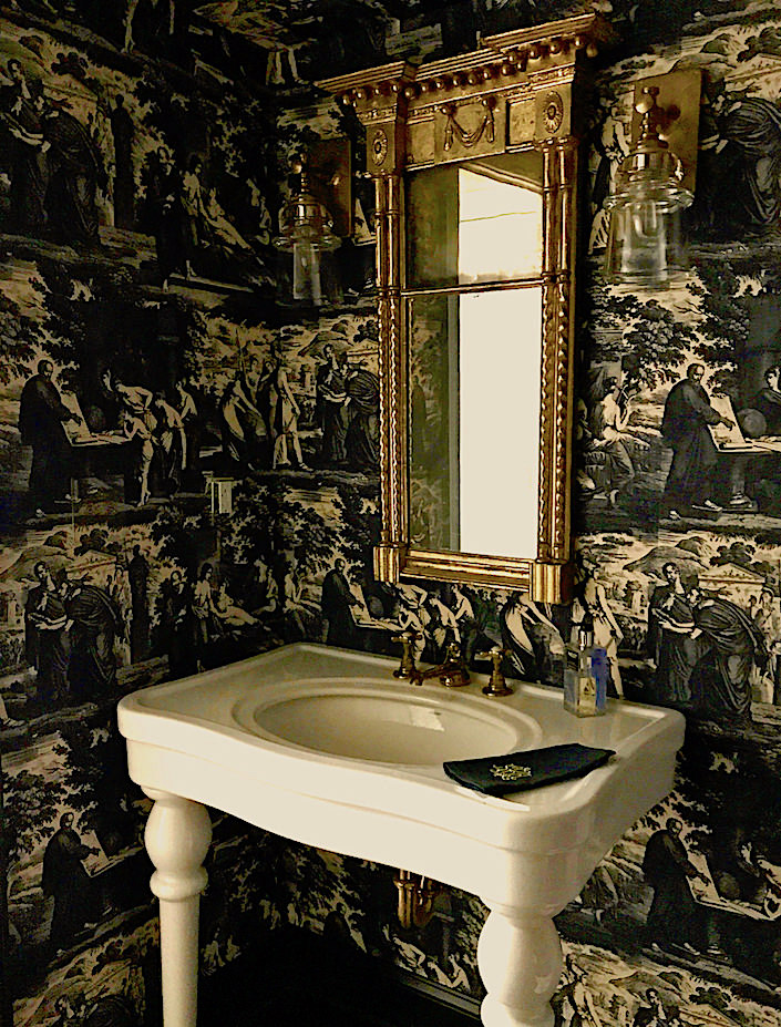 powder room with Christopher Moore Cholet toile wallpaper