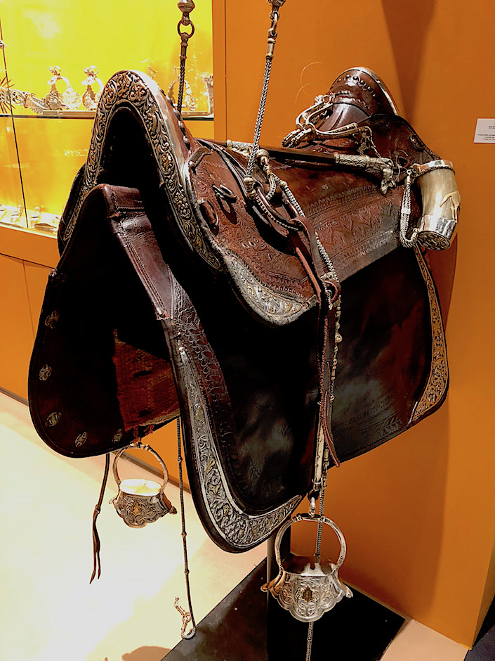 18th century leather and sterling saddle at Eguiguren at TEFAF New York Fall