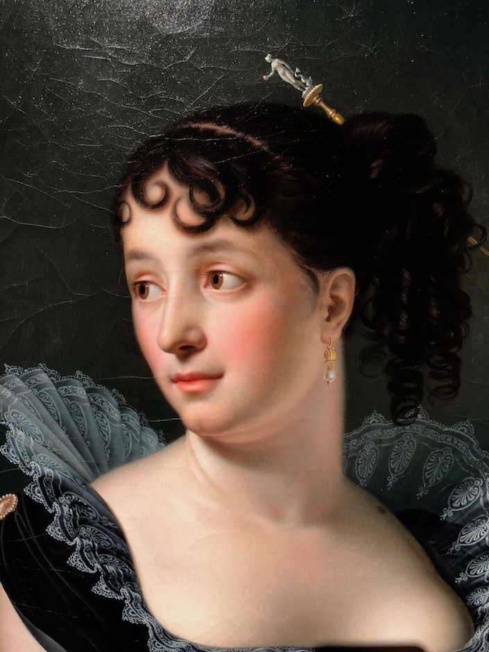Portrait detail of Madame Bertin de Vaux by Anne-Louis Girodet Trison at Robilant + Voena at TEFAF NEw York Fall