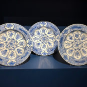 set of peacock dishes from Jorge Welsh at TEFAF New York Fall