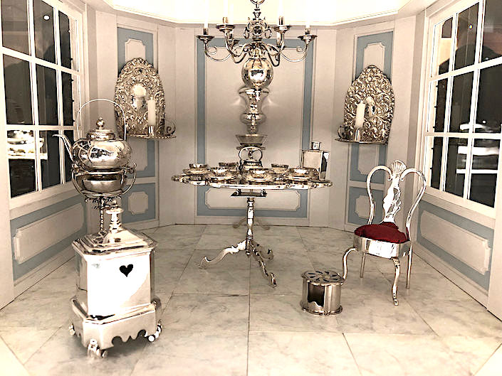 silver antiques in miniature tea house at A. Aardewerk at TEFAF new York Fall