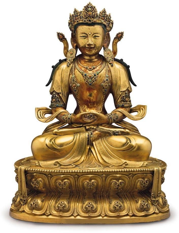 gilt-bronze figure of Amitayus
