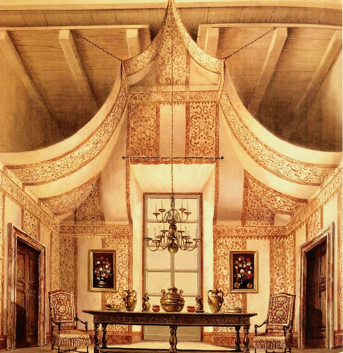 sketch for Renzo Mongiardino by Romolo Paganelli in Roomscapes