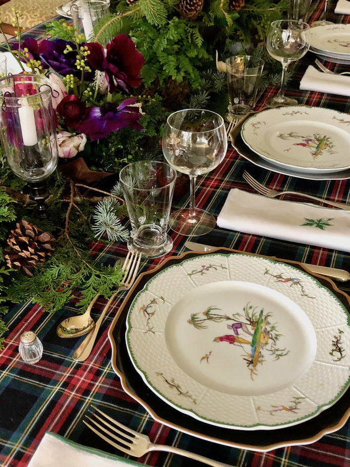Christmas table vignette