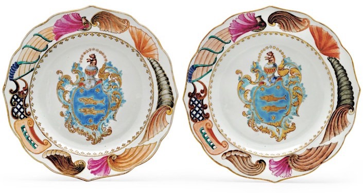 Chinese Export Famille rose armorial plates at Christies