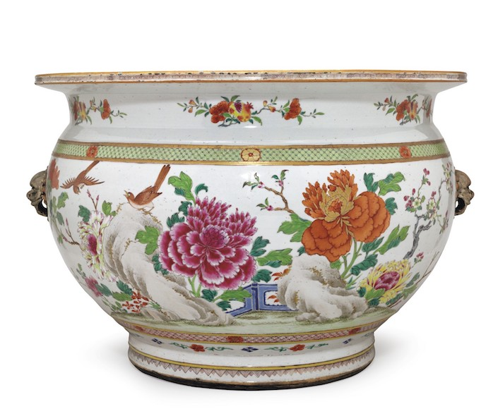 Chinese Export famille rose fishbowl at Christie's
