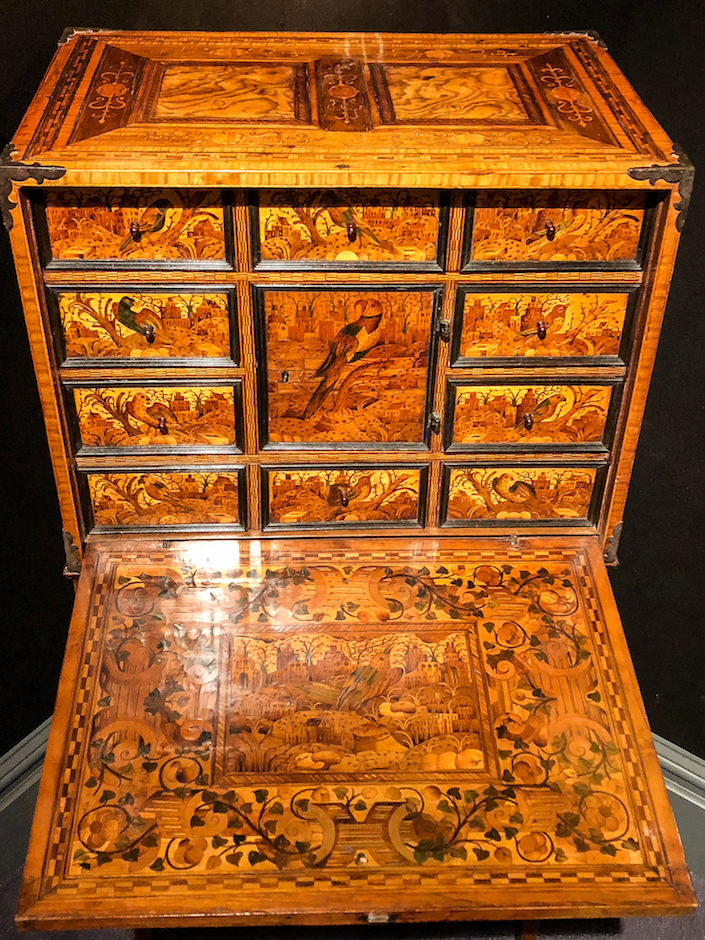 Marquetry cabinet at Thomas Coulborn at 2018 Winter Antiques Show