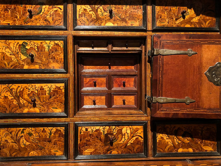 Marquetry cabinet details