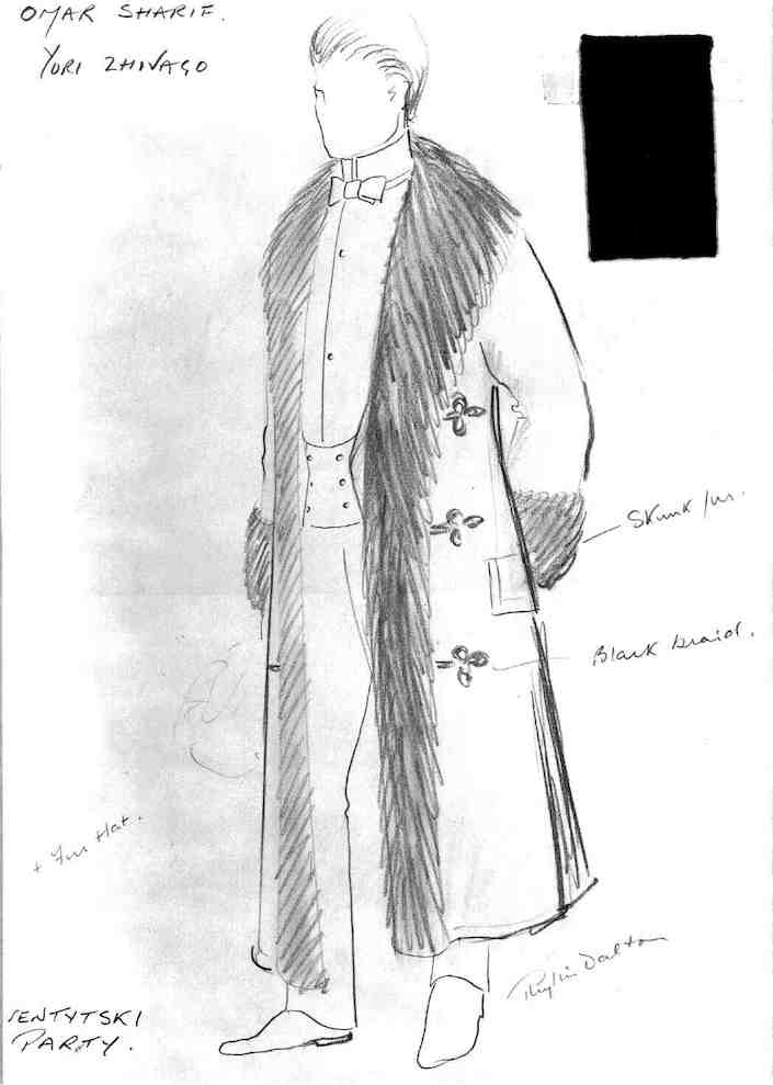 Phyllis Dalton drawing for Dr. Zhivago costume