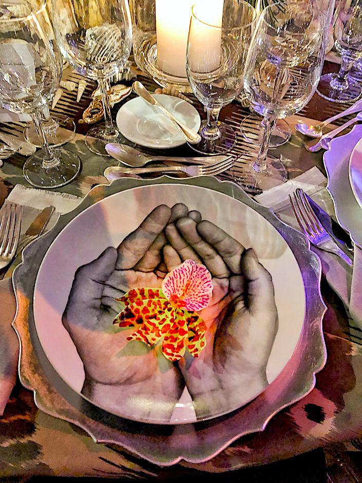 Bernardaud plates on Colette van den Thillart Orchid Dinner table