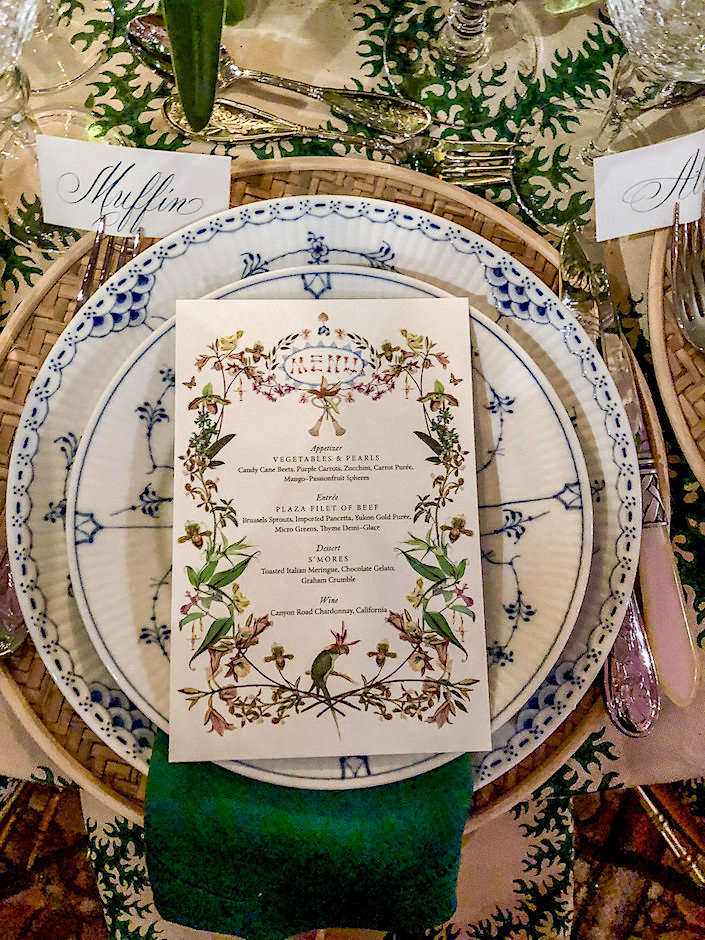 Cece Barfield menus for her NYBG Orchid Dinner 2018 table