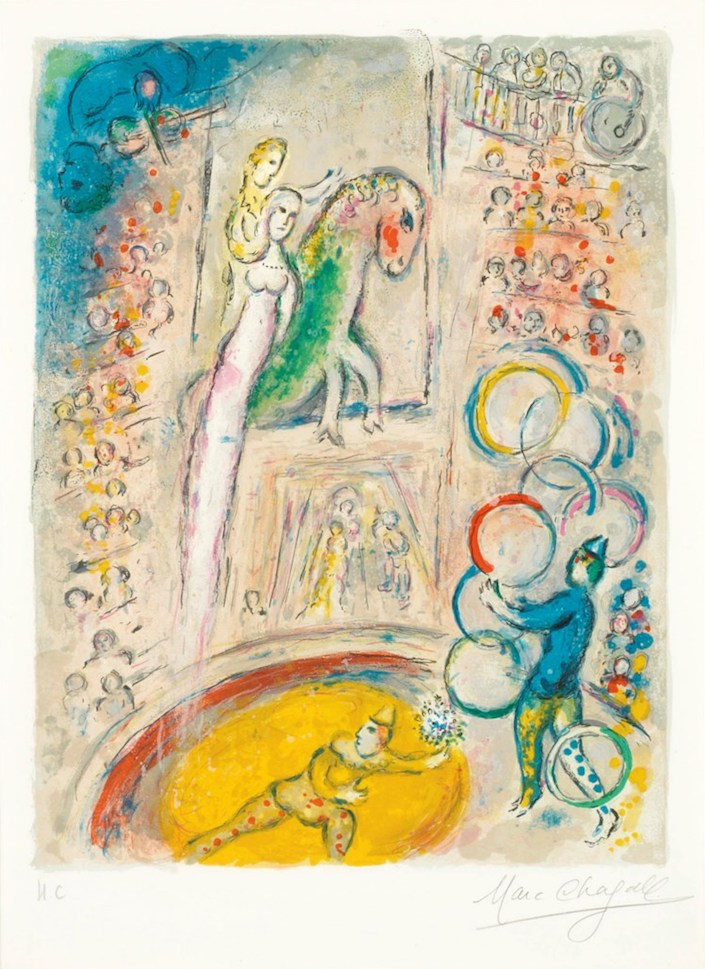 Chagall Le Cirque gouache at Christie's